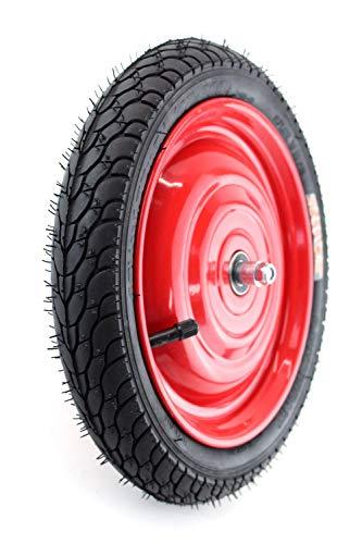 Set: Scheibenrad, Felge 12,5 Zoll mit 8mm Achse, Rot mit Reifen und Schlauch, fertig montiert für Anhänger, DDR Handwagen, Laufrad