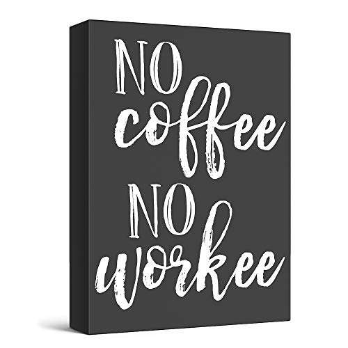 """Barnyard Designs No Coffee No Workee Box Wall Art Sign Primitive Country Home Decor Sign with Sayings 8"""" x 6"""""""