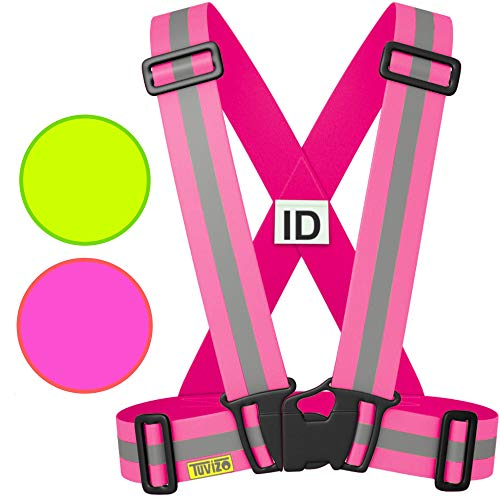 Tuvizo Reflective Vest for Running or Cycling - Comfortable Reflective Gear for High Visibility and Safety - Pink S M L