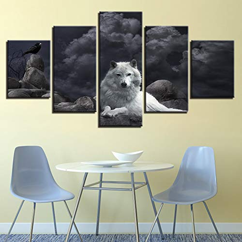 yuandp canvas foto wooncultuur lijst 5 stuks witte wolf en vogel foto's voor woonkamer HD afdrukken dier nacht poster L-30x40 30x60 30x80cm Frame