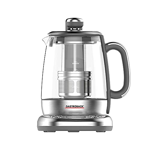 GASTROBACK #42440 Design Tee Automat Advanced Plus, Automatischer Tee– und Wasserkocher (2 in 1), 24-Stunden-Einschalt-Timer, Edelstahl-Teefilter, 1,5 Liter Glasbehälter, 2.000 Watt