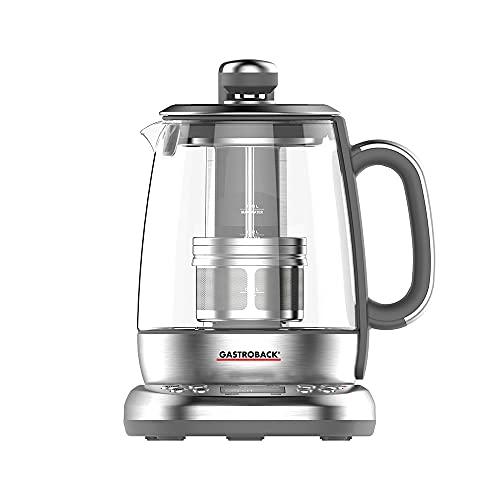 GASTROBACK 42440 Design Automat Advanced Plus - Bollitore automatico per tè e acqua (2 in 1), timer 24 ore, filtro per tè in acciaio inox, contenitore in vetro da 1,5 l, 2.000 Watt, vetro, argento
