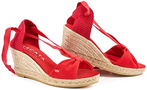 Viscata Tossa - Espadrilles classiche con zeppa di 6,3 cm, allacciatura morbida alla caviglia, open toe, fatte in Spagna, rosso (Red), 40 EU