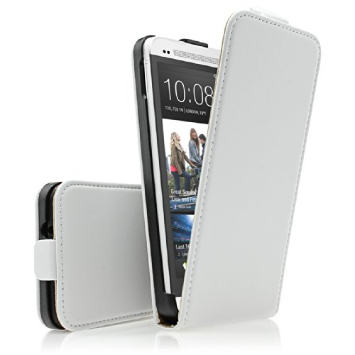HTC One M7piel sintética–Blanco