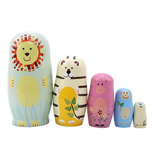 Toporchid Jungen Mädchen Holz Matroschka Puppen Spielzeug Russische Nesting Dolls Beste Wünsche Kinder Weihnachten Neujahr Geschenk Handgemachtes Handwerk (Löwe)