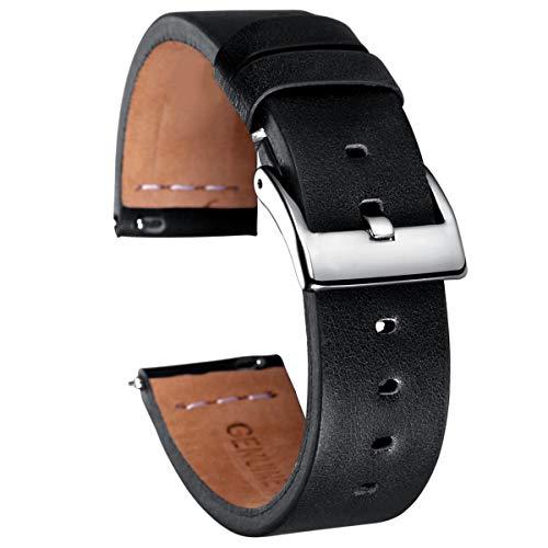 Quick Release Leder Uhrenarmbänder Kaffee Kalb handgemachte Vintage Lederarmband 18mm 20mm 22mm, schwarz, 22mm