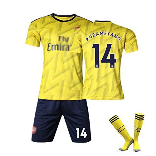 DDSC # 10 Aubameyang # 9 Lacazette Trikot Uniform # 19 Pépé Outfit,Club Kurzarm Shorts Socken Trainingsanzug für Herren Kind 16-XXL -Top Hemd Yellow(#14)-20