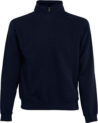 Fruit of the Loom Herren Zip Neck Sweat Sweatshirt, Blau (Deep Navy 202), Medium