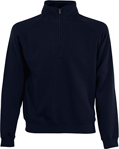 Fruit of the Loom Herren Zip Neck Sweat Sweatshirt, Blau (Deep Navy 202), Small
