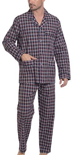 El Búho Nocturno Pijama de Caballero de Manga Larga clásico a Cuadros de viyela de algodón para Hombre