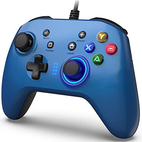 Mando de Juegos con Cable, Joystick Gamepad Doble Vibración, Controlador de Juegos...
