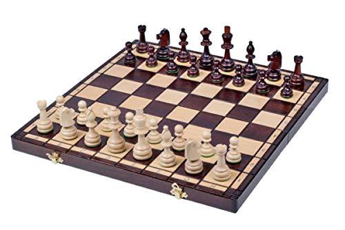 KADAX Schachspiel mit Figuren, 42 x 42 cm, Schach aus hochwertigem Holz, für Erwachsene, Anfänger, Kinder, große Schachbrett, Schachset, tragbare Schachkassette für Reise, Haus