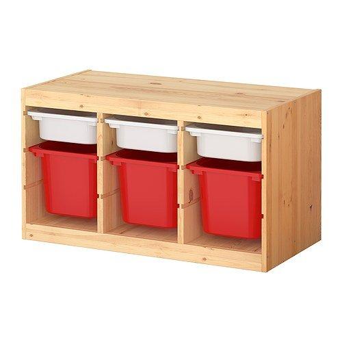★トロファスト / TROFAST 収納コンビネーション ボックス付き / パイン材 / マルチカラー[イケア]IKEA(S69873009)