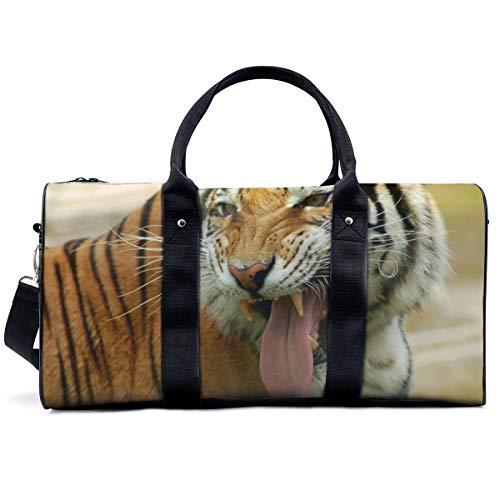 Bolsa de deporte para gimnasio, con dientes de tigre para bozal de enojamiento, depredador, gato grande, bolso de yoga, bolsa de hombro, bolsa de viaje, bolsa de viaje para hombres y mujeres