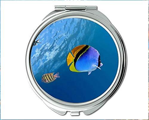 Yanteng Spiegel, Schminkspiegel, Betta Fish Thema des Taschenspiegels, tragbarer Spiegel 1 X 2X Vergrößerung