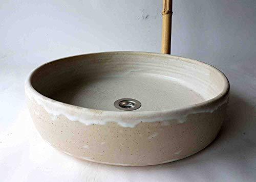 Waschbecken handgefertigt/beige Ø 39 cm Höhe 9,5 cm