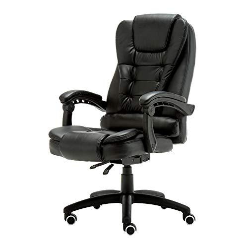 NQO - Silla de escritorio ergonómica con diseño ergonómico, funda reclinable de piel sintética giratoria y reposabrazos fijo, rueda corredera, color negro