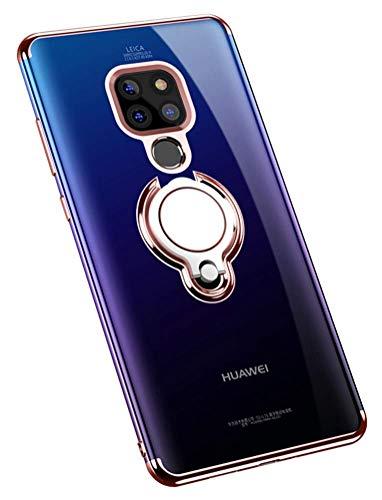 Huawei Mate 20 Pro Hülle Handyhülle Huawei Mate 20X Cover TPU Silikon Bumper Ring Stand Magnetische Autohalterung Slim Schutzhülle für Hülle Huawei Mate 20 Handy Hüllen (Huawei Mate 20 Pro, Roségold)