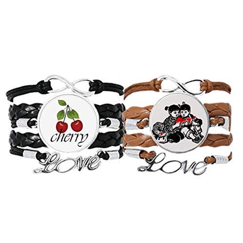 Bestchong Juego doble de pulsera de cuero con correa de mano para hombre y niña, con sombrero y mochila, diseño de libro patriotismo