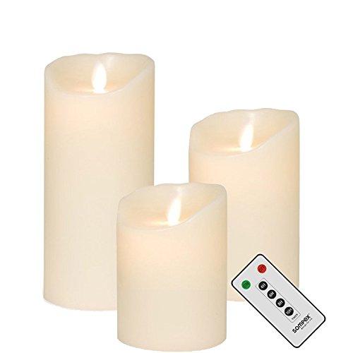 sompex 3er Set Flame LED Kerzen Klein Elfenbein 10cm, 12,5cm, 18cm mit Fernbedienung