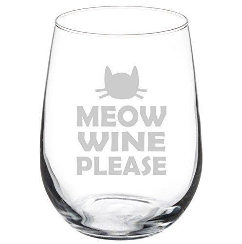 Funny Cat Meow Copa de vino Please Copa de vino Cáliz 11 oz sin tallo