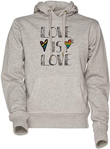 Vendax Love is Love LGBT Pride Rainbow - Love Unisex Herren Damen Kapuzenpullover Sweatshirt Grau Men's Women's Hoodie Grey