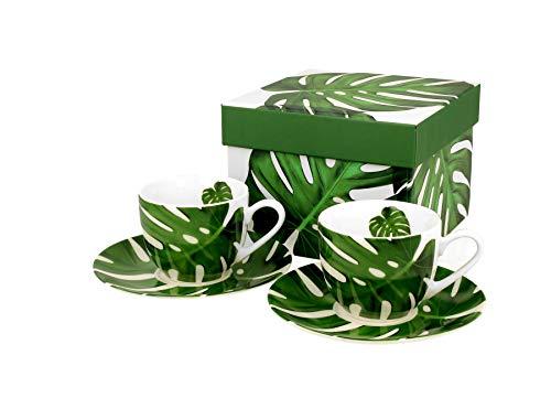 DUO Colección Secret Garden Monstera - Juego de 2 tazas de espresso con platillos de porcelana china New Bone China en caja de regalo, 110 ml