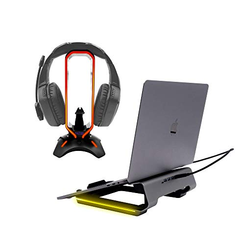 Tilted Nation RGB Headset Stand and an Ergonomic Gaming Laptop Stand, Ultimate Gaming Duo