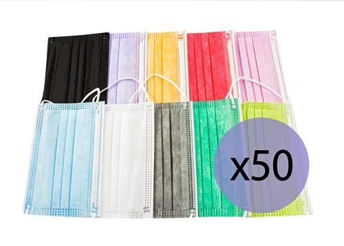 PAIDE P Mascarillas Higiénicas Mix Colores Infantiles, 3 Capas Desechables, 50 unidades (Colores-02)