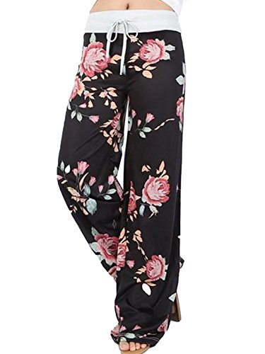AMiERY Pajamas for Women Women's High Waist Casual Floral Print Drawstring Wide Leg Palazzo Pants Lounge Pajama Pants(Tag L (US 8), Black 2)