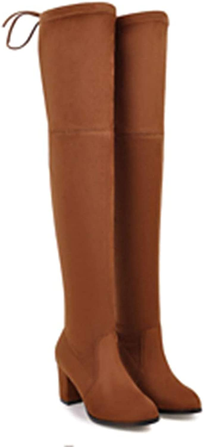 Women Over The Knee Boots Stretch Fabric Ladies Lace Up Winter Round Toe Fashion Boots