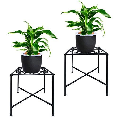 TLBTEK 2 Pack Black Plant Stands, Mid Century Modern Plant Stand,Tall Metal Flower Plant Pot Holder,Plants Display Rack Hold Up to 8-10 Inch Planter for House, Garden, Patio, Indoor & Outdoor