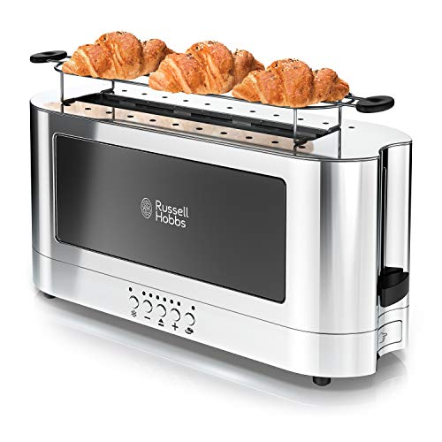 Russell Hobbs 2-Slice Glass Accent Long Toaster, Black & Stainless Steel, TRL9300BKR