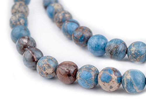 TheBeadChest Carolina Blue Sea Sediment Jasper Beads (8mm): Organic Gemstone Round Spherical Energy Stone Healing Power for Jewelry Bracelet Mala Necklace Making
