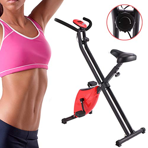 Exercise Cycling Bike Indoor Fitness Bike Verstelbare Professional Hometrainer met LCD-scherm Home Office Gym,Red