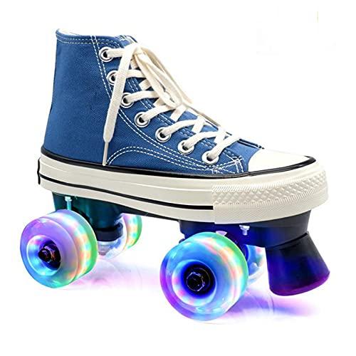 Zapatos con Ruedas, Patines, Parkour Zapatos/Patines, Patines de Lona de Caña Alta para Adolescentes, Patines de Patinaje de Velocidad Brillantes de Doble Fila para Interiores y Exteriores,Blue-37