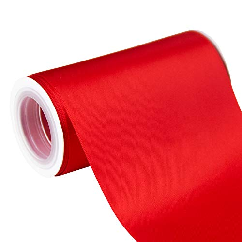 VATIN 4 Wide Double Faced Polyester Red Satin Ribbon- 5 Yard/Spool, Perfect for Grand Opening, Chair Sash, Making Bow, Sewing and Wedding Bouquet