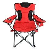 Unbekannt Campingstuhl XL mit Getränkehalter und Kühltasche - Anglerstuhl Faltstuhl Angelstuhl Klappstuhl rot/schwarz