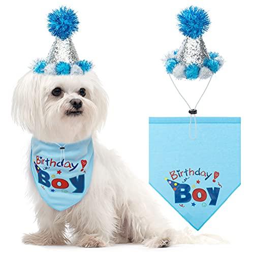 BINGPET Dog Birthday Bandana and Hat - Birthday Boy Scarf and Birthday Party Hat Set Best Birthday Gift for Pet, Puppy