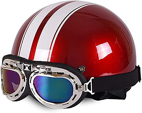 QAZXS Retro Halbschale Jet Helm Motorrad Helm Head Cap Pilot Goggles Roller Helm Machete Moped Scooter Helm ECE/DOT-Zertifizierung 54-59cm (Color : F, Size : 54-59CM)