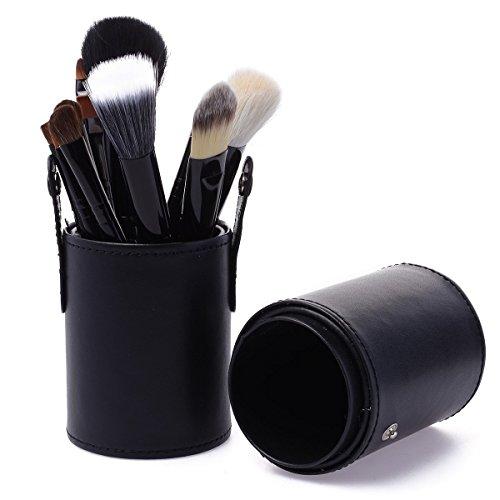 KanCai® 12 pièces pinceau de maquillage professionnel Set Maquillage Pinceaux de Maquillage avec trousse de rangement rigide en cuir