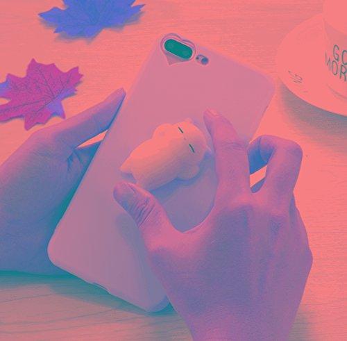HUILIAN Casse del Telefono Mobile & Cover, per iPhone 7 Plus 3D Orso Orecchie Rosa Orecchie Squeeze Relief Squishy Dropproof Copertura Posteriore Protettiva