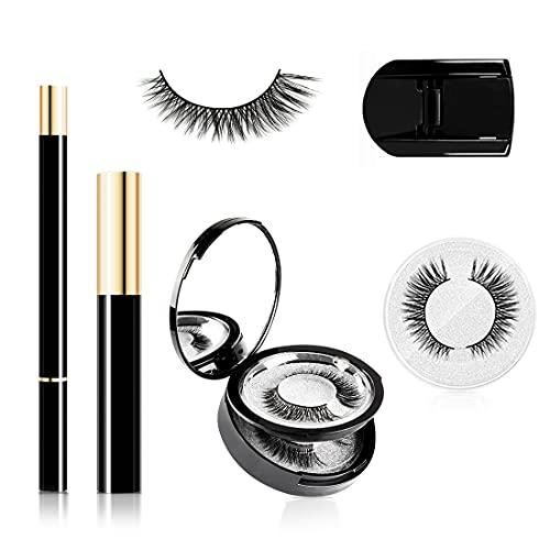Faux cils Magnétiques, Eyeliner Magnétique Kit, Mascara, Recourbe-cils, Réutilisable 3D Faux Cils (3 paires) Eyeliner liquide noir Imperméable Longue Durée, Pas de colle et d'aimant