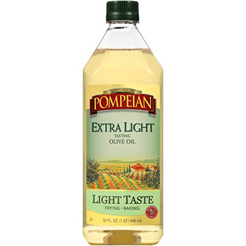Pompeian Extra Light Tasting Olive Oil, Light and Subtle Flavor, Perfect for Frying and Baking, Naturally Gluten Free, Non-Allergenic, Non-GMO, 32 FL. OZ., Single Bottle