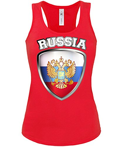 Russland ?????? Russia Fan t Shirt Artikel 3206 Fuss Ball Tank Top für Mädchen EM 2020 WM 2022 Trikot Look Flagge Fahne Frauen Damen World Cup S