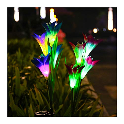 SODELIC Lily Outdoor Solar Garden Lights, 2 Pack Waterproof Upgraded Solar Powered Stake Lights with 8 Bigger Lily Flowers, 7 Colors Changing LED Decorative Lighting for Garden, Patio, Pathway, Yard …