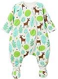 Happy Cherry - Bebés Saco de Dormir Infantil de Algodón con Zapatos Desmontable para Otoño Invierno Moños Enteros de Niños con Cremallera Estampado Lindo - Verde - 1-3 Años
