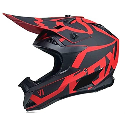 WAHA Casco Moto Niños Downhill, Casco De Motocross para Niño Y Niña, Set De Casco MTB Integral con Gafas Guantes Y Máscara, para Moto De Cross Carreras ATV Enduro Minimoto, con Diseño,M