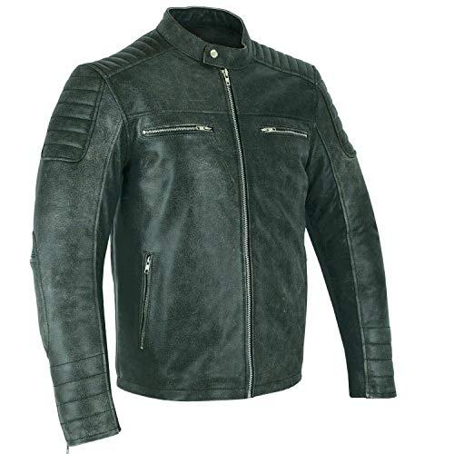 BOSmoto Motorradjacke mit Protektoren aus Leder (5XL/62), schwarz