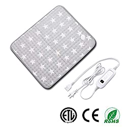 Heating pad, Heating Pad for Back Pain, Electric Heat Therapy Heating Pad with Auto Shut-Off, Fast Heat-up with 6 Heating Levels,Super Soft Material (23.6''x19.7''Inch, Gray-Star Pattern)